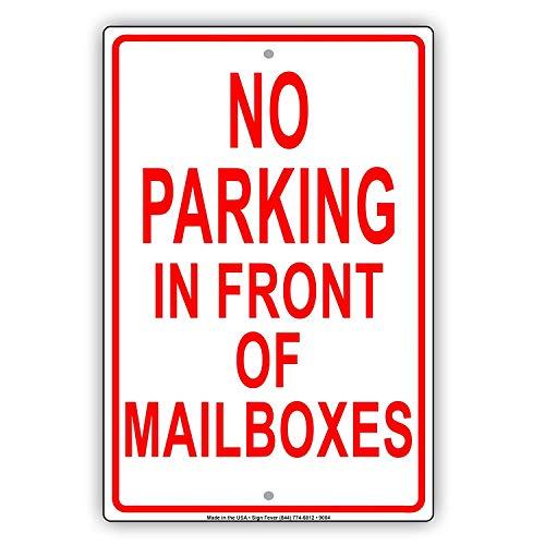 Geen parkeren in de voorkant van de brievenbus sleeptouw weg Towing Mail Man Kwaliteit Metalen teken Grappige Woorden Decoratie Tin Teken Gift 8 x 12 Inch