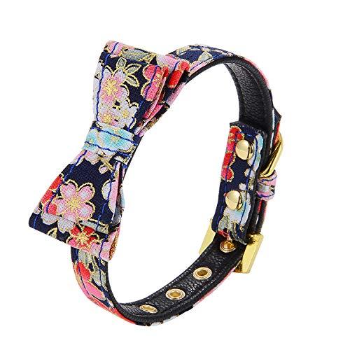 LOVPE Hundehalsband mit goldfarbener Schnalle, weiches Halsband, verstellbar, für kleine Hunde, Kätzchen, für Chihuahua, Teddy, Pudel, Yorkshire Terrier, Shih Tzu, XS (Neck for 8-11 inch), schwarz