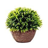 iTemer Modernas plantas artificiales con macetero con arbustos de plástico para decoración de mesa, aire libre, oficina, casa, cocina, jardín,tamaño 15 x 13 cm