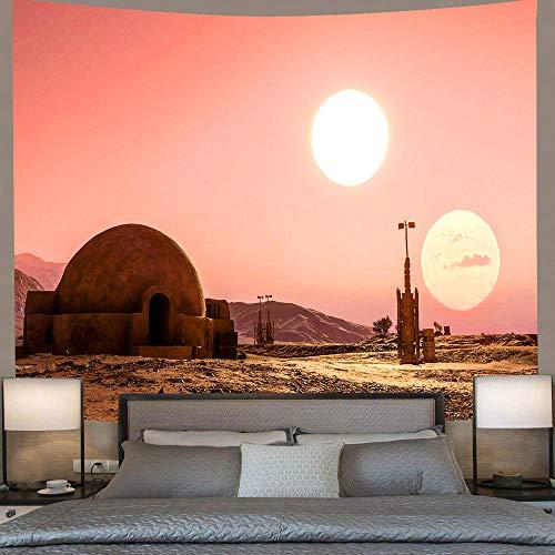AdoDecor Tapiz temático de Star Wars Desert Twin Moon tapices para Colgar en la Pared para Sala de Estar Dormitorio Dormitorio hogar Manta decoración 40x60 Pulgadas