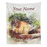 Custom Blanket with Name Text,Personalized Watercolor Cute Squirrel Super Soft Fleece Throw Blanket for Couch Sofa Bed (50 X 60 inches)