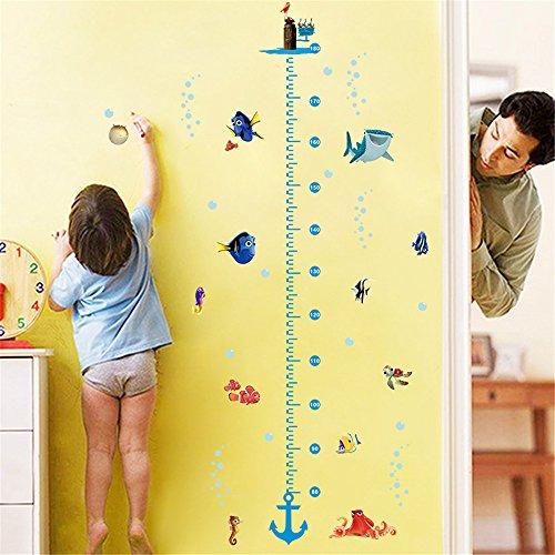 QIANGST DIY Growth Chart Height Mesure Wall Sticker Home Decal Nemo Cartoon Sea Animal Funny Friends World for Kids Room Nursery Mural