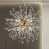 Berliget Firework Chandelier Modern Crystal Sputnik Chandelier, Gold Dandelion Chandelier Light Fixture, 8-Lights 15.74 Inches Starburst Fairy Hanging Light for Bedroom, Living Room, Foyer.