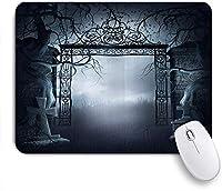 VAMIX マウスパッド 個性的 おしゃれ 柔軟 かわいい ゴム製裏面 ゲーミングマウスパッド PC ノートパソコン オフィス用 デスクマット 滑り止め 耐久性が良い おもしろいパターン (ゴシック暗い古いお化け屋敷の墓地死んだミスティックハロウィーンホラー)