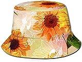 DUTRIX Hermoso Sombrero de Cubo con Estampado de Girasol, Gorra de Pesca para Pescador, para Viajes de Mujer
