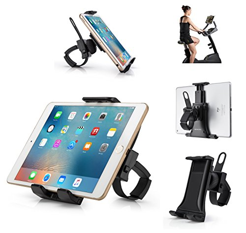 """AboveTEK All-in-One Indoor Cycling Bike iPad/iPhone Mount, Portable Compact Tablet Holder for Gym Handlebar on Exercise Bikes & Treadmills, 360° Swivel Stand for 3.5-12"""" Tablets/Cell Phones"""
