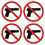 No Guns Allowed Sign - Self Adhesive Peel and Stick Waterproof Vinyl Decal - 3.94 inches in Diameter | Pack of 4 Pcs