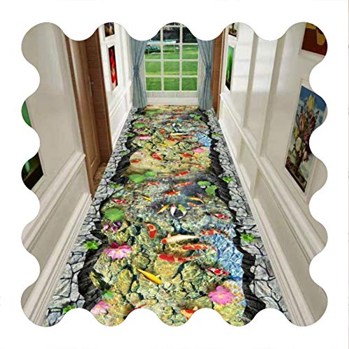 KKCF-Alfombras de pasillo, Microfibra Fondo de Plástico Antideslizante de Respaldo Aislamiento Acústico Carpa de Roca 3D Pasillo Habitación, El Tamaño Se Puede Personalizar (Color : A, Size : 1x3m)