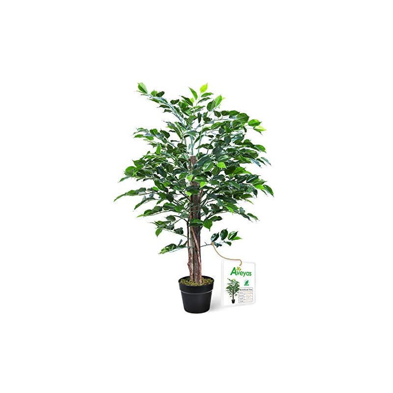silk flower arrangements aveyas 3ft artificial ficus silk tree in plastic nursery pot, fake plant for office house farmhouse living room home decor (indoor/outdoor)