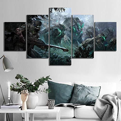 5 Stück Wandkunst Spiel Destiny 2 Warrior Bungie Character Poster Gemälde auf Leinwand Wandkunst für Wohnaccessoires Wanddekoration(size)