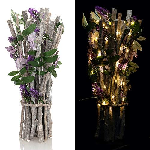 OF Sommerlicher Lavendelstrauß mit Ästen und LED Lichterkette inkl. Timer – Künstliche Blumen