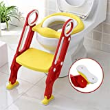 Sinbide Escalera Asiento Escalera del Tocador de Niños, Reductor WC para Niños Acolchado Suave con Escalón Plegable Abatible Ajustable, Antideslizante (Rojo-Amarillo)