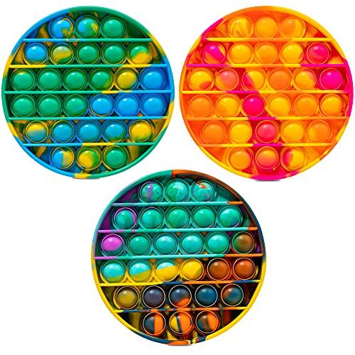 Push Bubble Fidget Sensory Toy, Fidget Toys for Kids Adults, Tie-dye Bubble Popper Fidget Toy Stress Anxiety Relief Toys for ADHD Autism Special Needs, Fidget Stress Reliever Toys - 3-PCS Colorful
