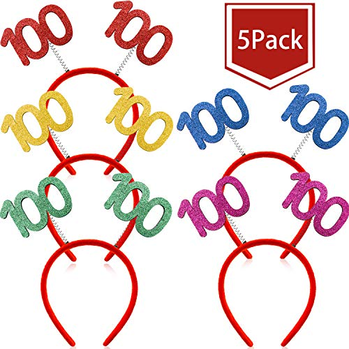 Best Deals! WILLBOND 5 Pieces 100 Glittered Boppers Headband 100th Birthday Boppers Party Accessorie...