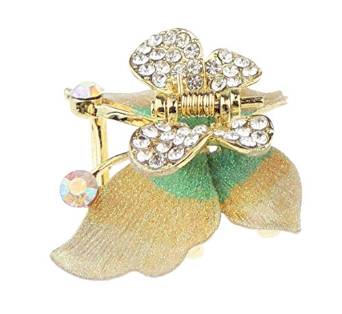 Dames Pastel Metaal Diamante Sparkly Glitter Kristal Kleine Vlinder Haar Klauw Klem Eén maat Kleur: wit