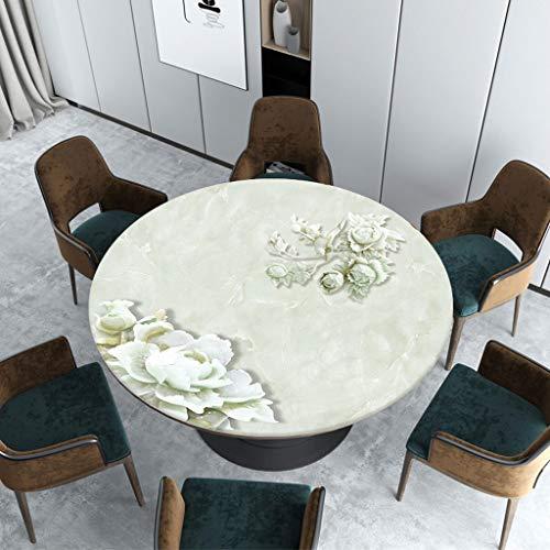 Marmer textuur Pvc rond soft-tafelkleed, olie- en hittebestendig zacht en comfortabel verjaardagen binnen of buiten eettafels Diameter-130cm D