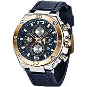 BENYAR Mens Watches Analogue Quartz Chronograph Date 3ATM Waterproof Watch Business Sport Leather Strap Wrist Watch for Men