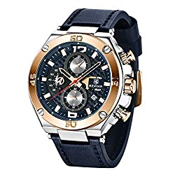 BENYAR Men Watch Quartz Chronograph Date 3ATM Waterproof Watches Business Sport Design Leather Strap Wrist Watch for Men Father