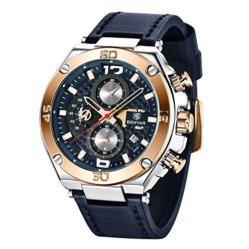 Orologio uomo BY BENYAR Cronografo Analogico Impermeabile Orologi al quarzo di sport con Blue Leather Strap commerciali Orologi da polso per gli uomini 5151