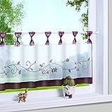 Yujiao Mao 1er Pack Stickblume Schlaufen Scheibengardine kleine Kaffee Vorhang Terri Garn Raffrollo, HxB 45x120cm, Beere