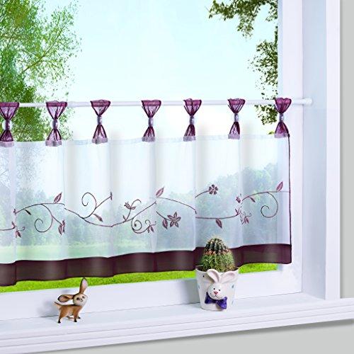 Yujiao Mao 1er Pack Stickblume Schlaufen Scheibengardine kleine Kaffee Vorhang Terri Garn Raffrollo, HxB 45x90cm, Beere