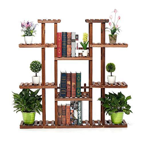 Madeinely - Supporto per piante a 9 ripiani in legno per piante gassate, per interni ed esterni