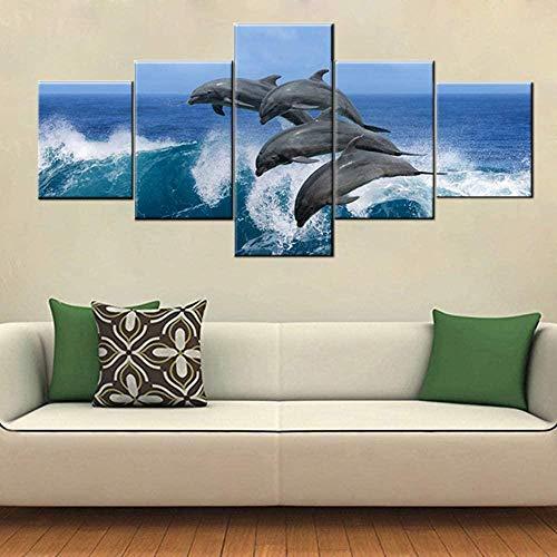 cuadro en lienzo impresión de 5 piezas - Enmarcado y listo para colgar Pintura de paisaje marino con delfines saltando sobre olas rotas 150x80cm