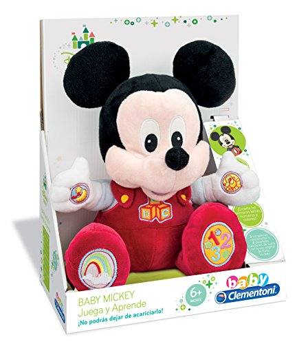 Clementoni- Animales de Cine y Television Peluche Juega y aprende Mickey, Color...