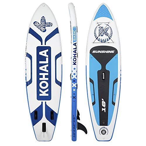 Tabla de Paddle Surf Sunshine Color Blanco y Azul - Tipo Beginner - Capacidad Máxima 120 kg - Aletas 3 (2+ 1)
