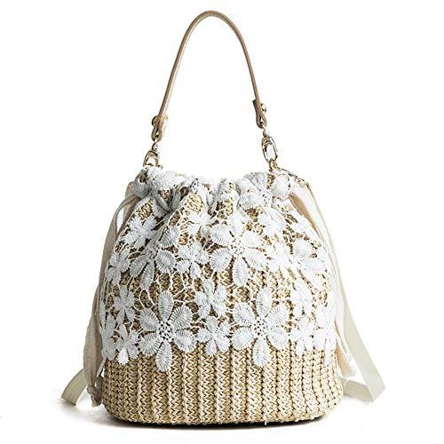 Unbekannt Damen Sommer Strandtasche Strohhandtasche mit Griff oben großer Kapazität Reisetasche Handgewebt Strohhalm Große Hobo-Tasche, Beige (With Lace Cover), Einheitsgröße