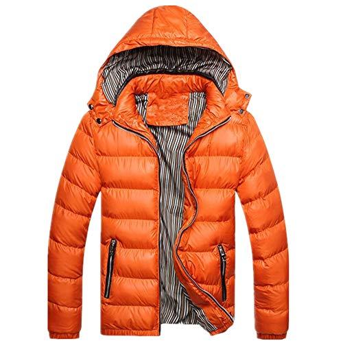 Herren Mantel Herren Warm Parkas Dick Casual Gr. XXL, Orange
