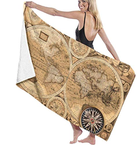 Toalla De Playa Mapa del Mundo Toalla De Baño Ligera De Microfibra De Secado Rápido para Senderismo Yoga Gimnasio Deportes Natación Camping Baño Vacaciones 80X130Cm