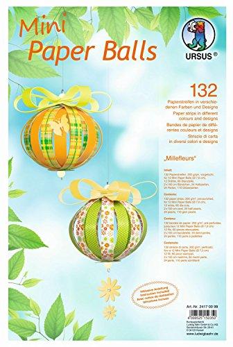 Ursus 24170099 - Mini Paper Balls Millefleurs, 132 Papierstreifen inklusive Zubehör