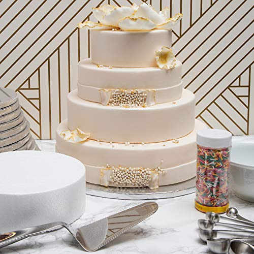 Bright Creations Foam Cake Dummy for Decorating and Wedding Display (4 Sizes, Round, White, 4 Pack)