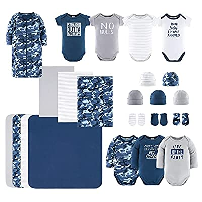 The Peanutshell Newborn Layette Gift Set for Baby Boys | 23 Piece Newborn Boy Clothes & Accessories Set | Fits Newborns to 3 Months | Blue Camo from