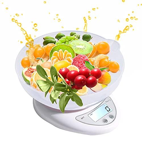 Báscula De Cocina Digital Con Cuenco, 5 Kg Báscula Electrónica Para Alimentos - Báscula De Cocina De Función Profesional Para El Hogar Con Función De Tara Precisión Hasta 1g 1