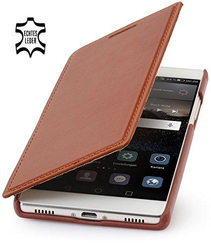 StilGut Book Type Hülle, Hülle aus Leder geeignet für Huawei P8, Cognac
