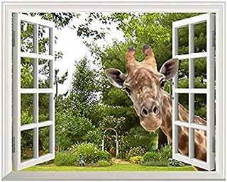 wall26 - Curious Giraffe Looking Through Window - Canvas Art Wall Decor -24