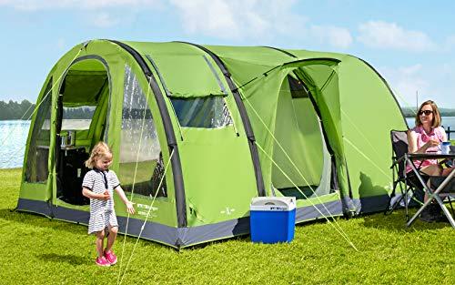 BERGER Tunnelzelt Sierra 6-L Deluxe Familienzelt Camping Zelt aufblasbar Schlafkabine WS3000mm grün