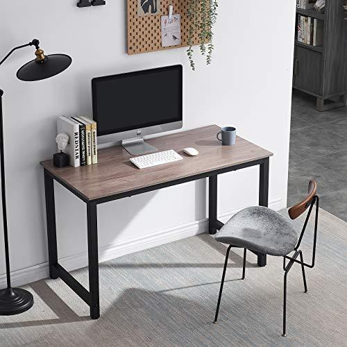 Symylife Escritorio para computadora Moderno Mesa de Trabajo Mesa para computadora Estación de Trabajo Escritorio de Oficina con Madera y Metal Acero, 120x60x75cm, Grano Vintage