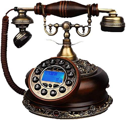 Multifuncional línea fija rotativa clásica con cable retro antiguo teléfono fijo con campana de metal clásico manos libres y con cable en casa oficina (tamaño : estilo botón)