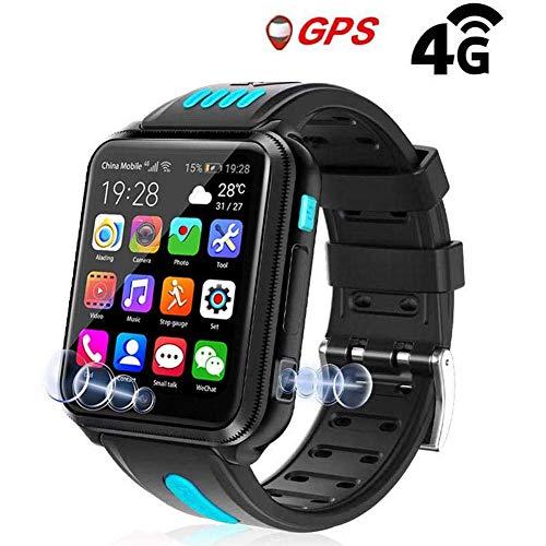 XCHUNA Smart-Uhren für Kinder, GPS LBS Tracker 4G Telefon-Uhr mit Dual-Kamera/SIM-Karten-Slot für Call/Nachricht/WeChat Video Voice Chat/Spiel/WiFi,A