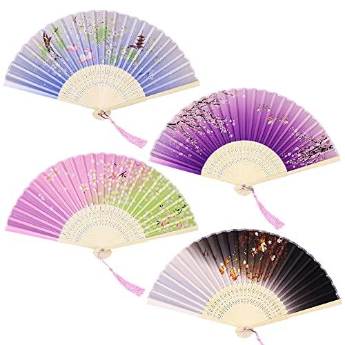 Abanico Plegable de Mano 4 piezas Mano Abanicos de Seda Abanicos Bambú y Seda Ventilador de Mano Abanicos Plegables Chinos Abanico Plegable de Seda Ventiladores Plegables Bambú para mujeres