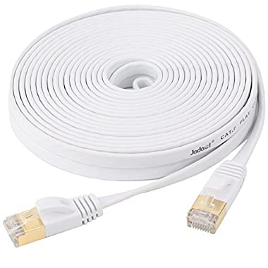 Jadaol Cat 7 Ethernet Cable 25 ft White –Shielded (STP) Computer Cable With Snagless Rj45 Connectors– 25 feet White (7.62 Meters)