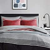 Comfort Spaces Bed in A Bag-Trendy Casual Design Cozy Comforter with Complete Sheet Set with Side Pocket, All Season Cover, Matching Shams, Decorative Pillow, Twin XL, Colin Red/Grey 6 Piece