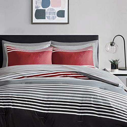 Comfort Spaces Colin 6 Piece Comforter Set All Season Microfiber Stripe Printed Bedding and Sheet with Two Side Pockets, Twin XL, Red/Grey
