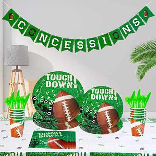 New Design Football Touchdown Party Decoration Supplies, Banner, Plate, Cups, Napkins, Plastic Table Cloth Serves 20