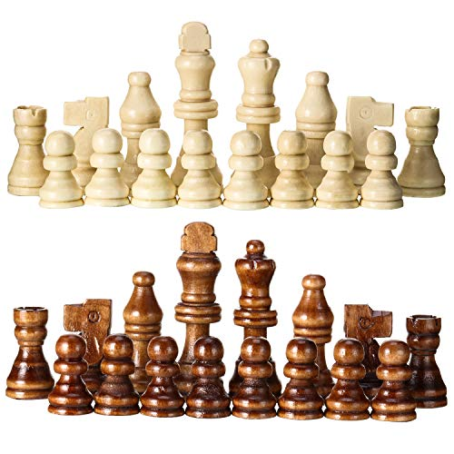 2 Sets of Wooden Chess Pieces (64 Pieces),Tournament Staunton Wood Chessmen Pieces Only, 2.75 Inch King Figures Chess Game Pawns Figurine Pieces, Replacement of Missing Piece
