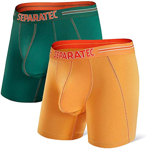 Separatec Herren Dual Pouch Unterwäsche Comfort Flex Fit Cotton Modal Blend Boxershorts 2er Pack