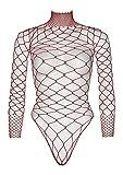 High neck net long Sleeve bodysuit with snap CROTCH a a Thong painty Taglia Unica/ Taglia italiana 40-44 Informazioni sulla vestibilità: la vestibilità è normale, molto elastica. Vestibilità ottimale, comfort elevato. Lavaggio a mano
